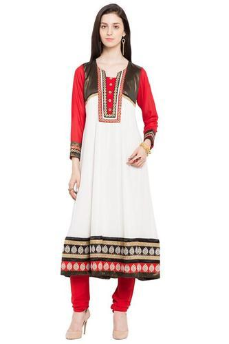 Off White Ladies Designer Printed Tunic Kurta