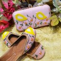 Bird Design Punjabi Jutti With Matching Clutch