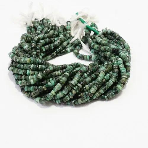 Natural Sakota Emerald Panna Smooth Tyre Beads Strands