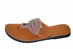 Women Party Wear Embroidered Faux Leather Kolhapuri Chappal