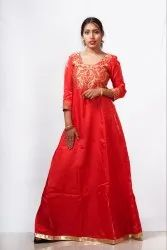 Ethnic Semi-Stitched Red Gown, Size: Free Size