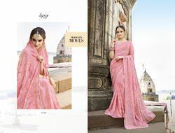 PInK Colour Fancy Party Wear Sarees