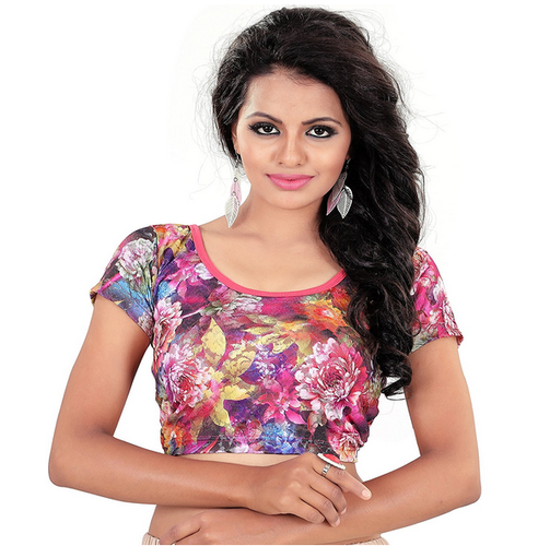 5efb99f24db71 Saree Blouse Readymade Stretchable Cotton Lycra (print1) at Rs 399 ...