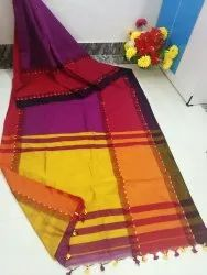 SB Handloom Block Prints Cotton Sarees, With Blouse, 6.3 m