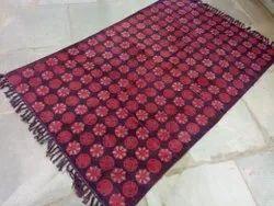 Hand Block Dabu Print Cotton Rug Room Mat, Carpet Dari