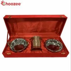 Choozee - Copper SS Handi, Bucket and Kadhai Set (800 ML)
