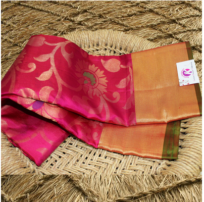 Party Wear Green Pink Allover Design Saree And Combination Pattu