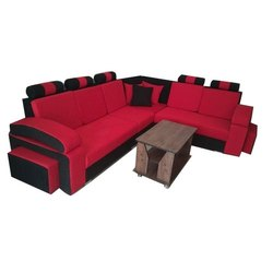 Stylish Red And Black Corner Sofa Set