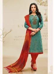 Regular Wear Churidar Suit With Rainbow Dupatta