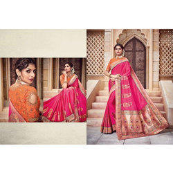 Thread Georgette Designer Party Wear Saree, 6 M with Blouse Piece