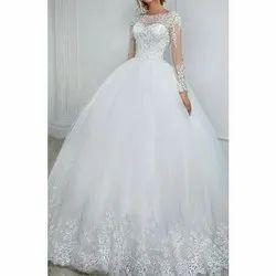 White Net Ladies Wedding Gown