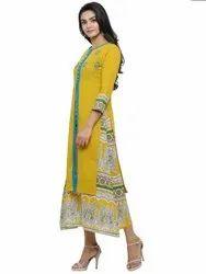 Yash Gallery Women's Cotton Kalamkari Print Patchwork A-line Kurta