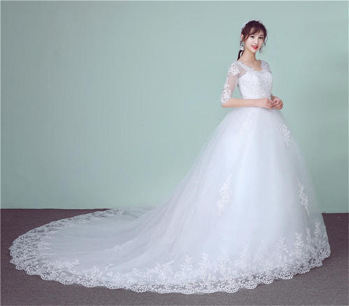 7f9a0592158 White Medium And Large Christian Wedding Gown Catholic Gowns Wedding Frock  Train Gzhs601 Sleeves