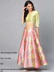 Jacquard Design Lehenga & Solid Blouse Set