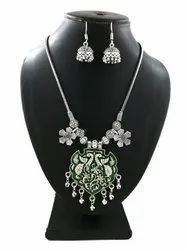 Flower Chain German Silver Necklace With Earring