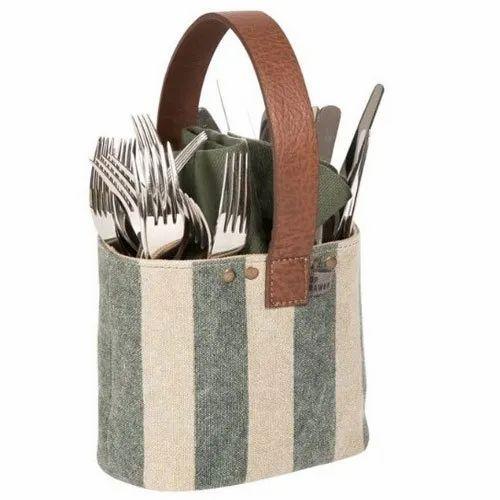 Cotton Canvas Cutlery Holder, Size: 20 - 30 Cm (diameter)