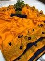 Top Quality Vichitra Silk Fabric With Gold Colour Swarovski Diamond Work With Element 3D Flower