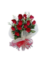 Bunch Of 15 Red Roses Wrapped With White Net