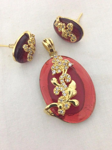 2f35471863 CZ Gold Red Stone Floral Pendant Set, Rs 795 /piece, Swarnakshi ...