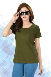 OLIVE GREEN Casual Wear ROUND NECK T-SHIRT, Quantity Per Pack: 1