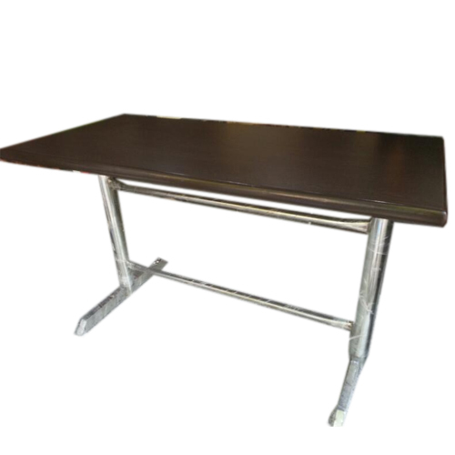 Charmant Restaurant Table Stainless Steel Bases Wooden Top