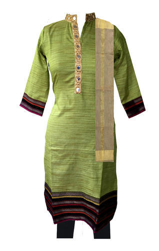Lavanya Cotton Green 3/4th Sleeve Formal Kurti Set