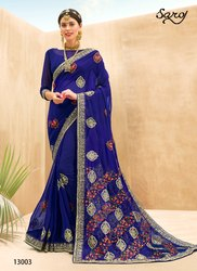 Stylish Georgette Embrodiery  Saree