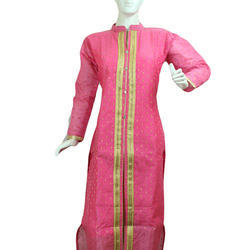 Silk Full Sleeve Party Wear Ladies Kurti, Size: S to XL