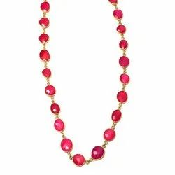 Hot Pink Chalcedony Bezel Gemstone Necklace