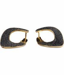 Black Diamond Studded Clip On Earrings for Women