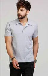Cotton Grey Collared T Shirt