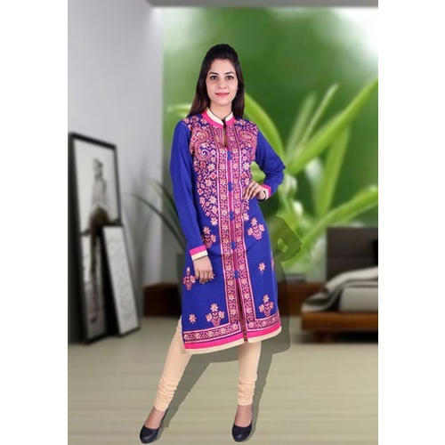 Cotton Full Sleeve Casual Wear Kurti, Size: M & L
