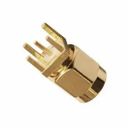 SMA Connector Gold Plated Straight Male For PCB, Contact Material: Brass