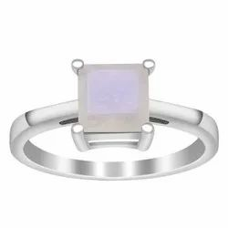 Stackable 925 Sterling Silver Rainbow Moonstone Square Stone Solitaire Ring