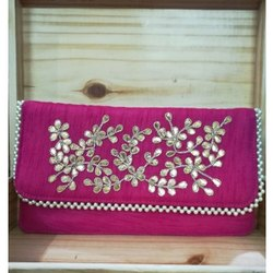 Zardosi Hand Embroidery Clutch Wedding Bag Trendy Fashion Wallet Purse