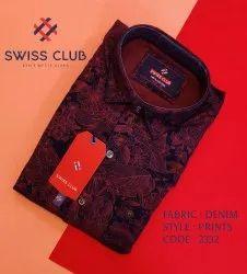 Collar Neck Swiss Club Men's Casual Dark Denim Printed Shirt