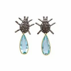 Blue Topaz Hydro Earrings Antique Look Earrings