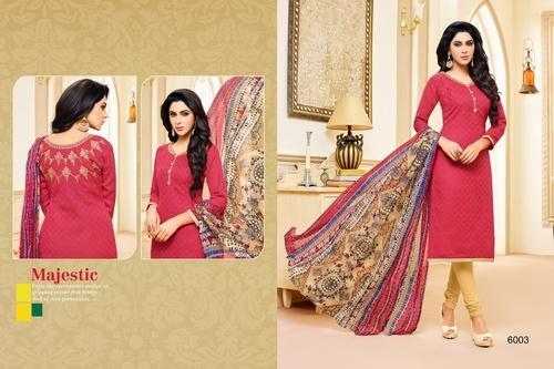 Printed & Embroidered Full Sleeve Salwar Suit Fabric
