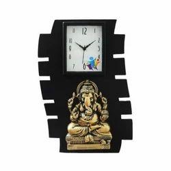 Wood Ganesha Analog Wall Clock, For Gifting, Packaging Type: Box