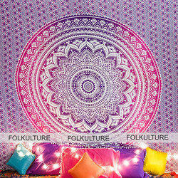 Printed Rectangle Magenta Marvel Mandala Tapestry Boho Wall Hanging, Size(cm): 215 X 241