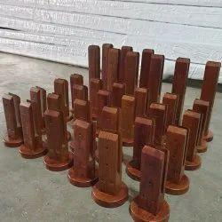 Wooden Coated Stainless Steel Frameless Glass Railing Spigot