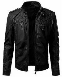 Biker Regular Fit Casual Black Leather Jacket
