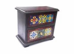 Mango Wood Chest Rack With 2 Drawers Wooden Hand Painted Masala Spice Storage Box