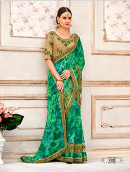 Teal Green Silk Embroidered Party Wear Saree