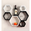 Jaipur Crafts & Webel Kart White And Color Black And White Wall Shelf Rack