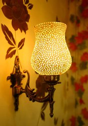 Glass & Metal Moroccan Heritage Wall Lamp, 7 Watts