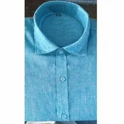 Cotton Plain Mens Blue Formal Shirt, Size: 40, Packaging Type: Packet