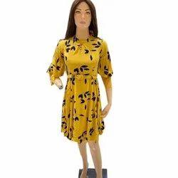 Ladies Yellow Printed One Piece Dress