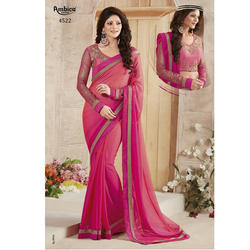 Silk Georgette Women Traditional Light Magenta Saree with Blouse Piece