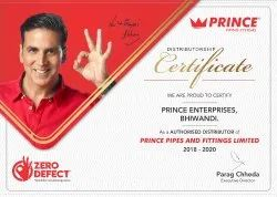 Prince Pipe & Fitting Distributor Certificate